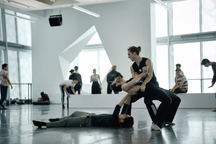 The company in rehearsal for Stabat MATER in the iconic Studio A of the Édifice Wilder Espace danse