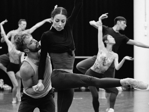 Les Grands Ballets' dancers in rehearsal for Symphony No. 5 of Garrett Smith