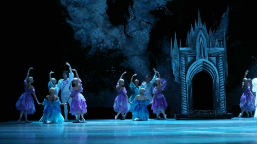 View of the stage design during a performance of the ballet Cinderella