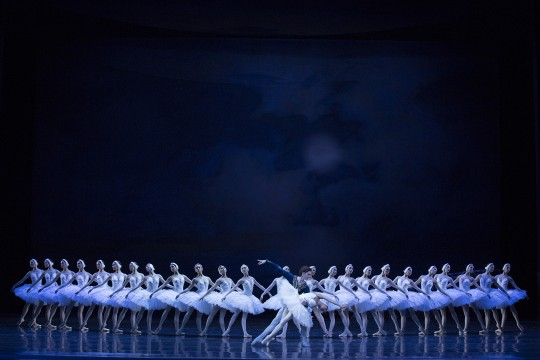 Dancers onstage in Swan Lake