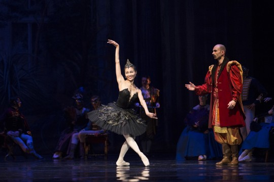 Dancer Yuka Ebihara onstage in Swan Lake