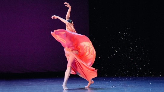 Dancer Anya Nesvitaylo performs during the 2018-2019 season launch event