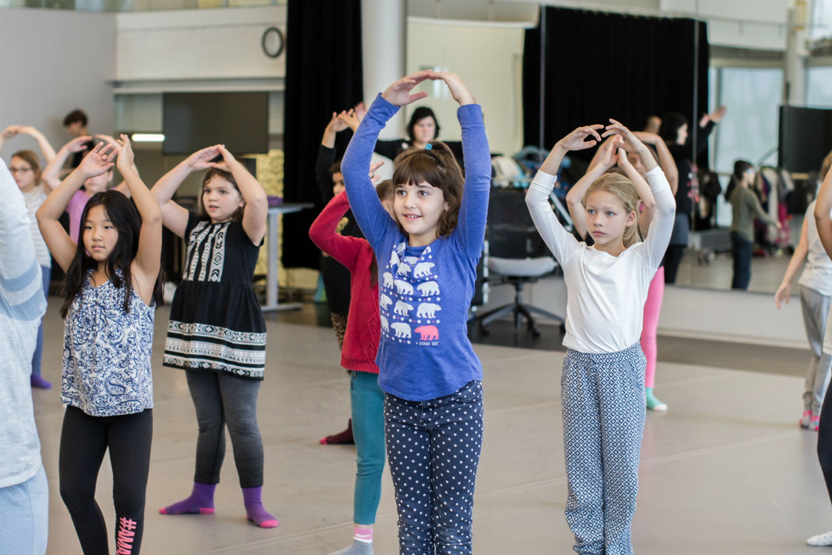 Children having fun during a creative workshop offered by Les Grands Ballets' Nutcracker Fund