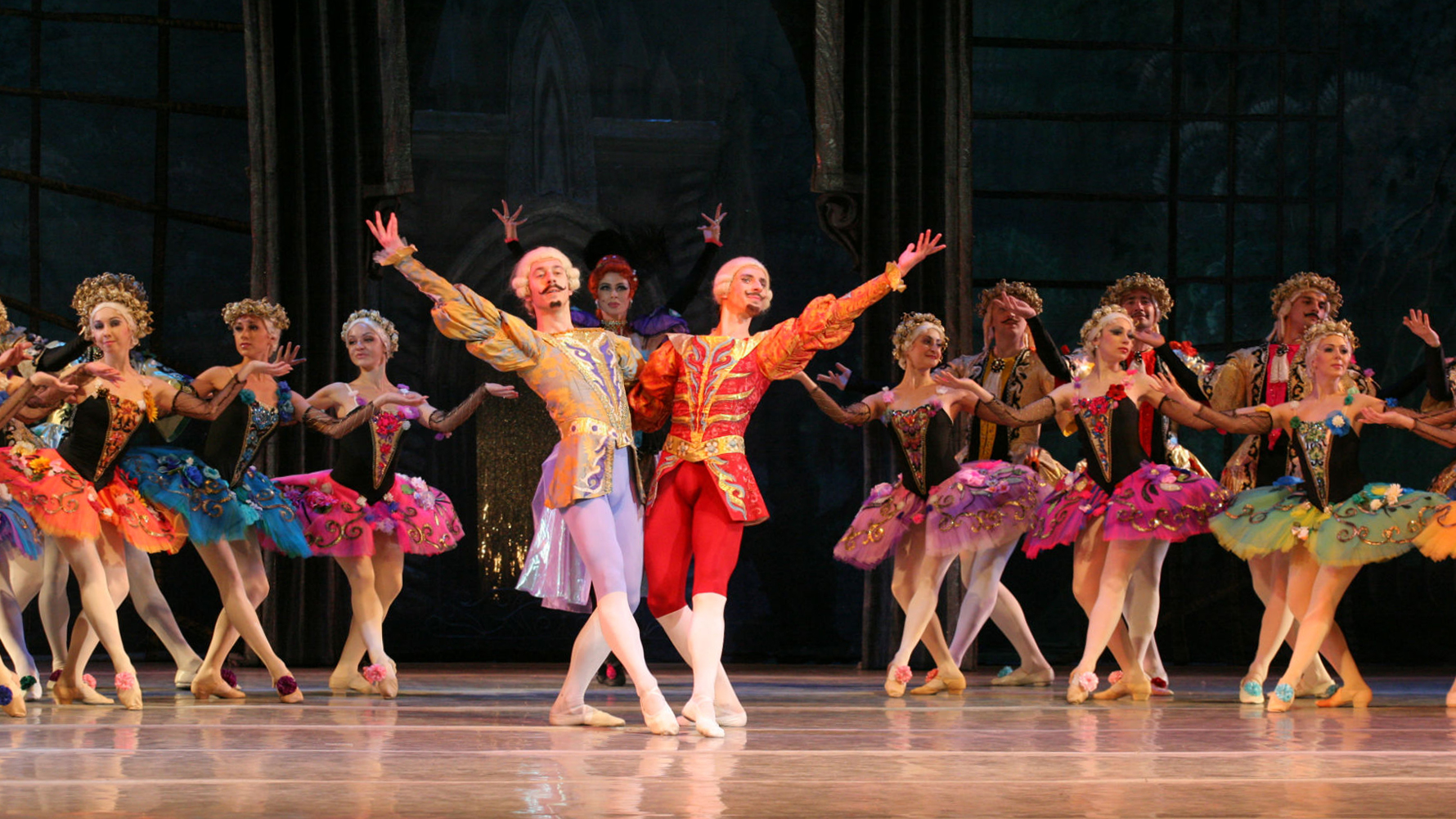 Photo onstage with many dancers of the National Ballet of Ukraine performing the ballet Cinderella
